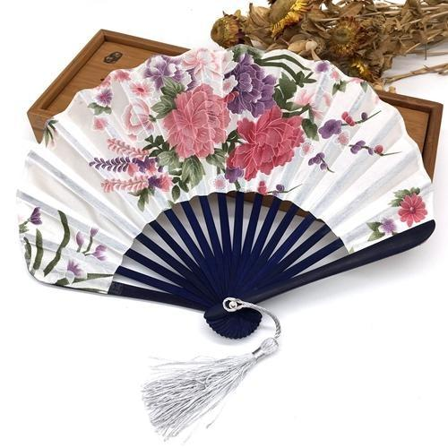 Japanese Fan in White Fabric