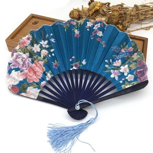 Japanese Fan in Light Blue Fabric