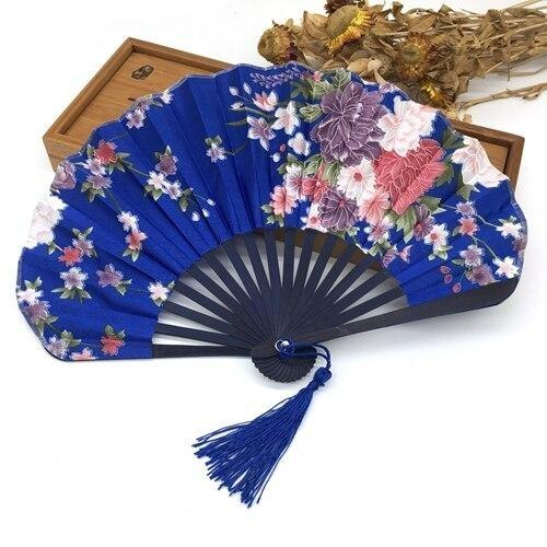 Japanese Blue Fabric Fan