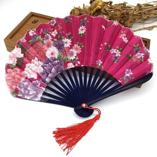 Japanese Fan in Fuchsia Fabric