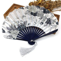 Japanese Black and White Fabric Fan