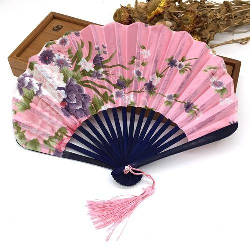 Japanese Fan in Pink Fabric