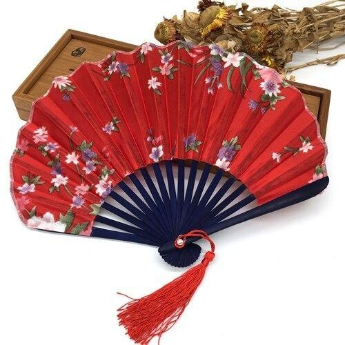 Japanese Red Fabric Fan