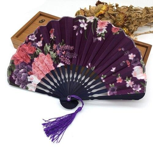 Japanese Fan in Purple Fabric