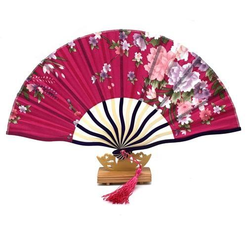 Japanese Fuchsia & Floral Fan