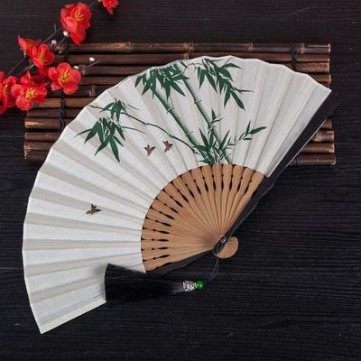 traditional Japanese bamboo pattern fan