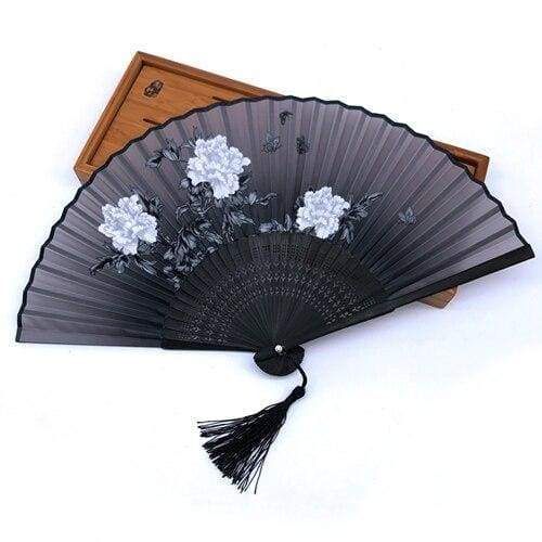 Japanese Black Peonies Fan