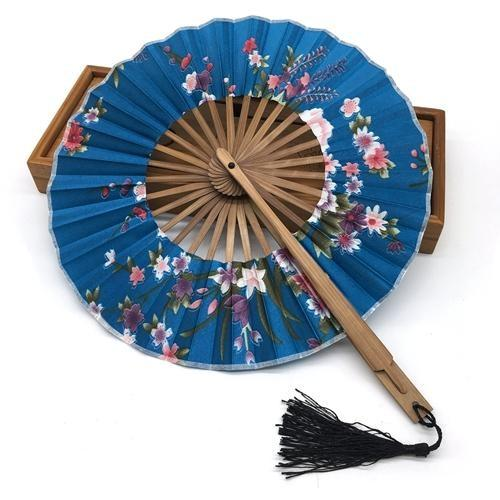 Blue Round Japanese Fan