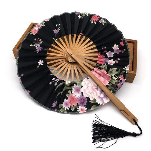 Japanese Round Fan Black