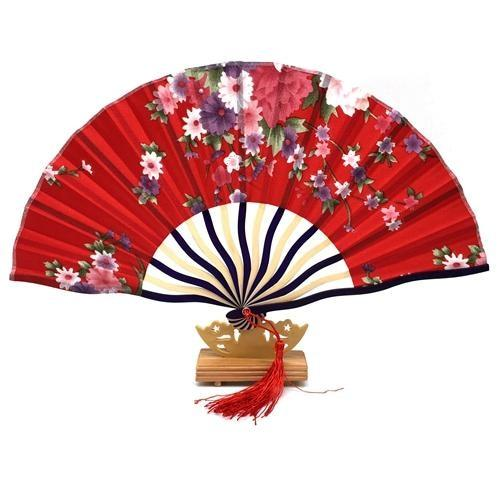 Japanese Red & Floral Fan