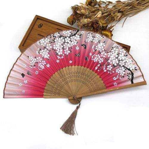 Traditional Japanese Fan in Bamboo and Silk