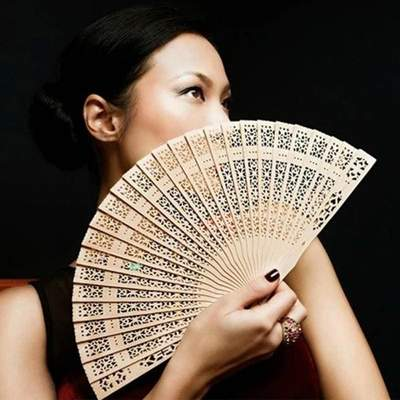 Traditional Japanese Wooden Fan for woman