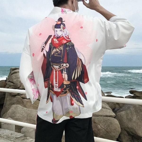 Floral kimono style jacket white color back view