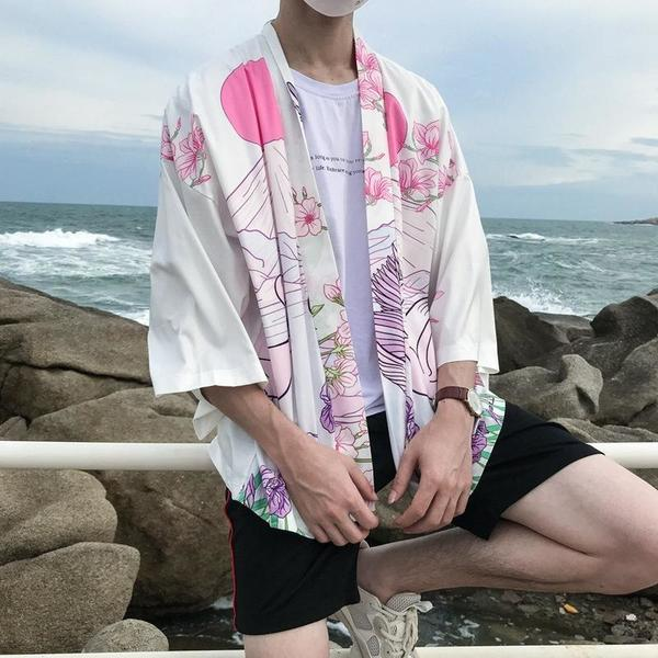 Floral kimono style jacket white color front view