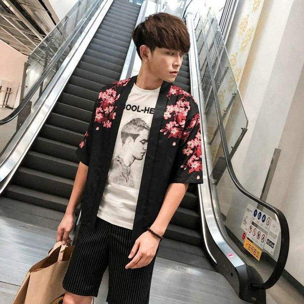 Floral print kimono jacket black color front view
