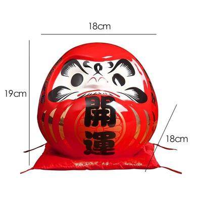 Large Daruma Money Box Red features
