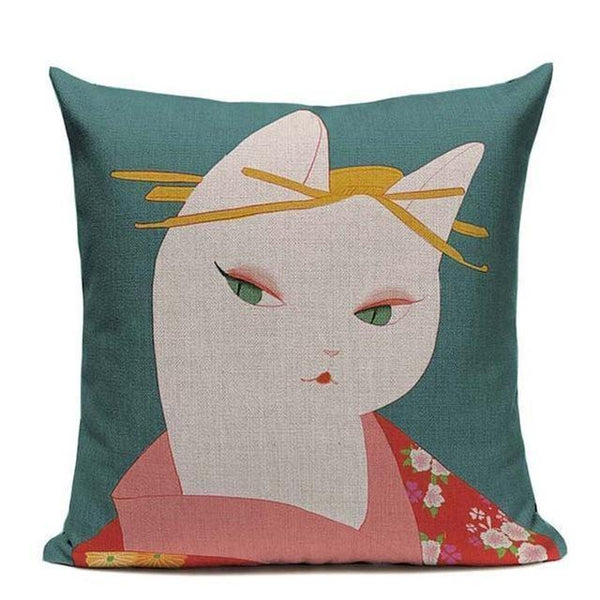 Japanese Cushion Cover - Geisha Cat