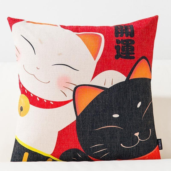 Japanese Cushion Cover - Two Maneki Neko