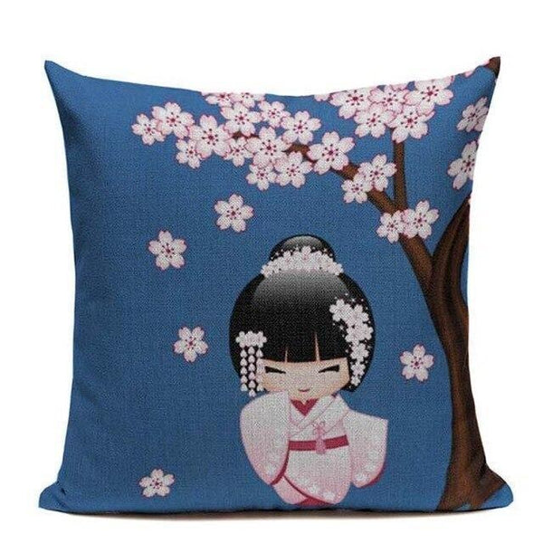 Japanese Geisha Cushion Cover - Blue