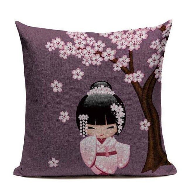 Japanese Geisha Cushion Cover - Purple