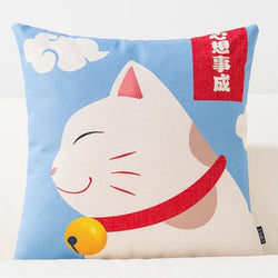Japanese Cushion Cover - Happy Neko