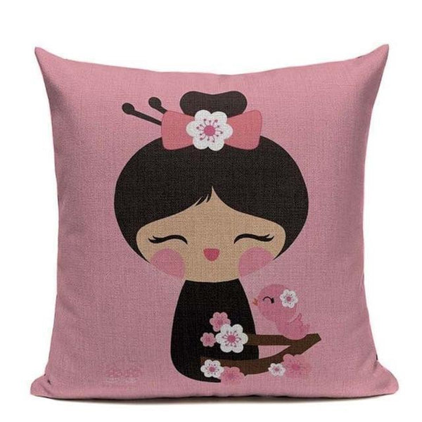 Japanese Kawaii Cushion Cover - Pink