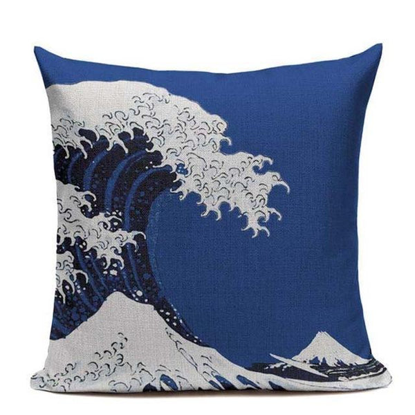 Japanese Cushion Cover - The Great Blue Wave