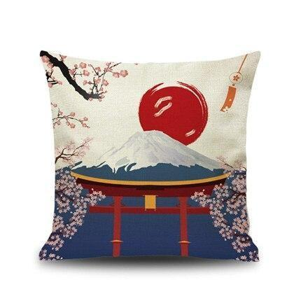 Japanese Cushion Cover - Torii & Mount Fuji
