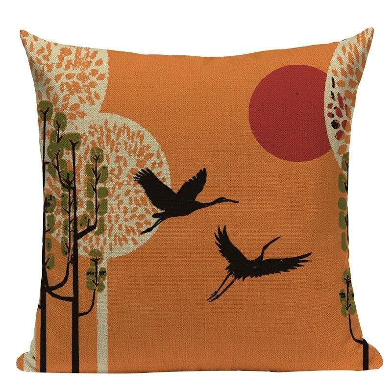 Japanese Cushion Cover - Tsuru