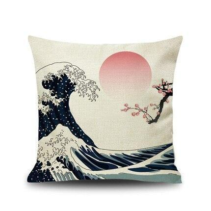 Japanese Cushion Cover - Wave & Sakura