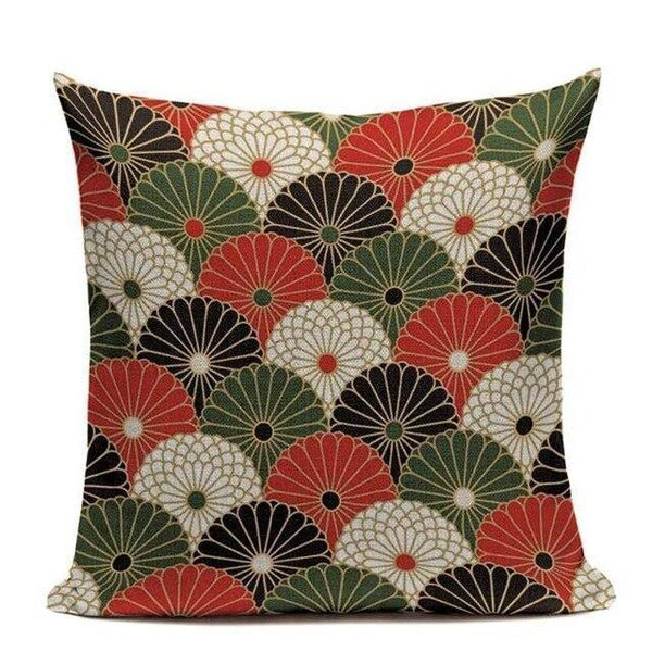 Japanese Pattern Cushion Cover - Chrysanthemums