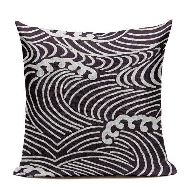 Japanese Pattern Cushion Cover - Raging Sea