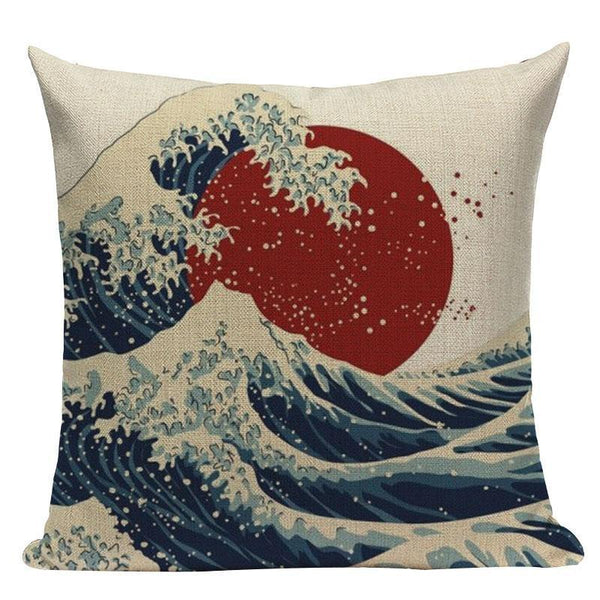 Japanese Pattern Cushion Cover - Wave & Sun