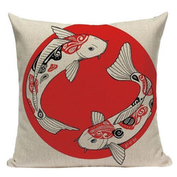 Japanese Style Cushion Cover - Koi Carp