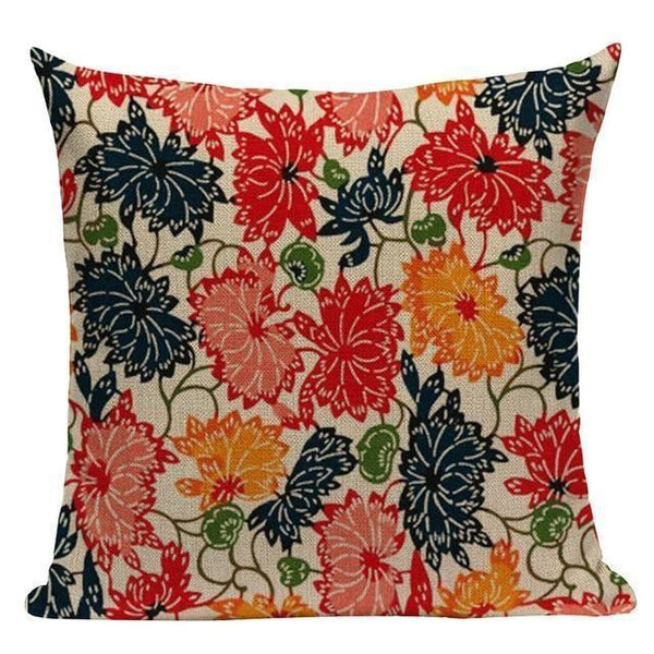 Japanese Style Cushion Cover - Peonies