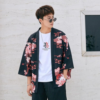 Japanese kimono style jacket cherry blossoms black color front view