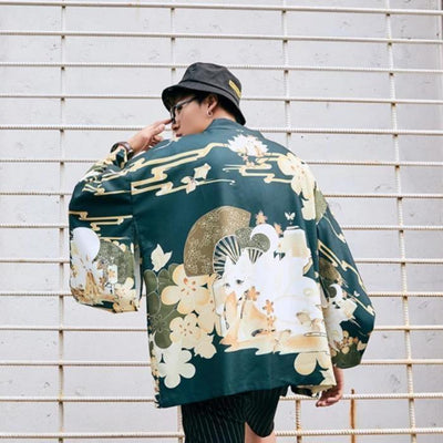 Japanese kimono style jacket cherry blossoms green color back pattern view
