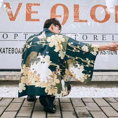 Japanese kimono style jacket cherry blossoms green color back view