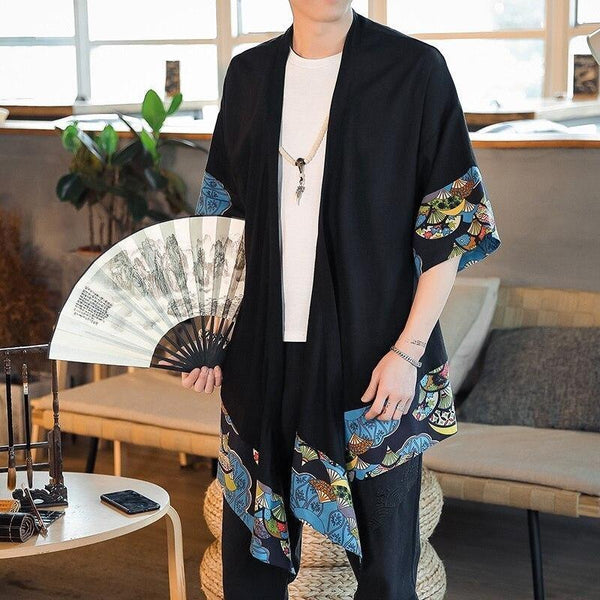 Japanese pattern kimono jacket with fan front view