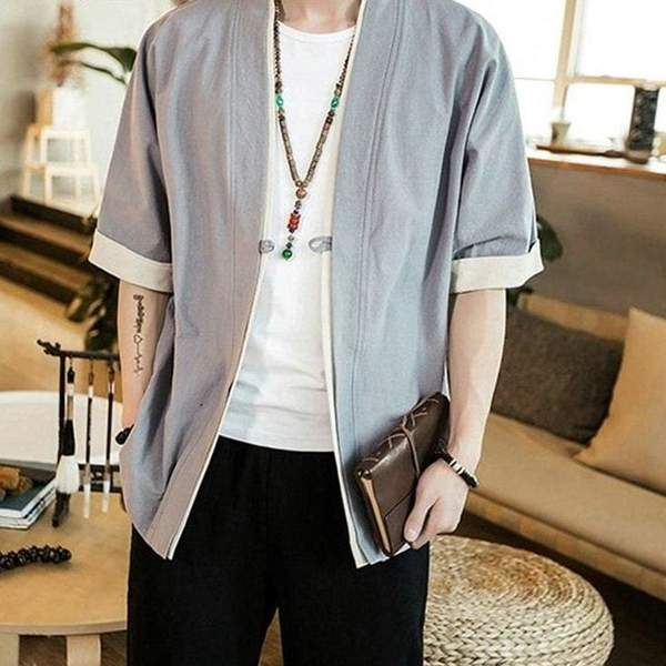 Japanese traditional jacket grey color front view