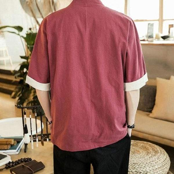 Japanese traditional jacket red color back view