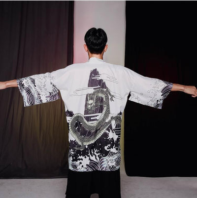 Kimono jacket dragon pattern white color back view