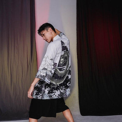 Kimono jacket dragon pattern white color lateral view
