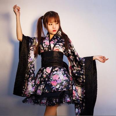 Short Japanese black Kimono for Women