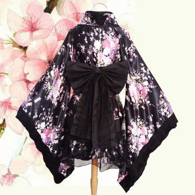 Short Japanese black and white Kimono for Women