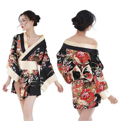 sexy japanese Night black Kimono for Women front and back view