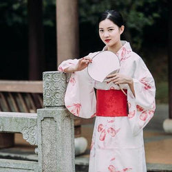 Traditional Japanese aki Kimono for Woman