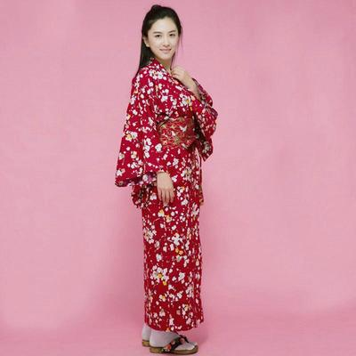 Japanese red Kimono Woman Plum Blossoms for streetwear