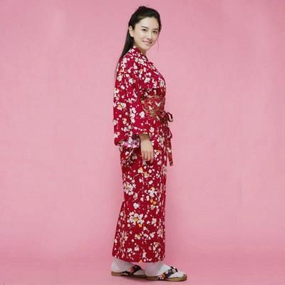 Japanese red Kimono Woman Plum Blossoms lateral view