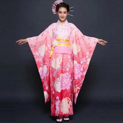 traditional pink Japanese Kimono Woman Furisode ,Botan, front view